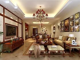 美式美式风格客厅跃层吊顶电视背景墙装修图