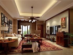 美式美式風格客廳躍層吊頂電視背景墻設計案例展示