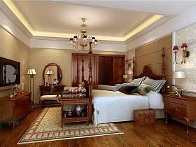 美式美式風格臥室躍層吊頂電視背景墻裝修案例