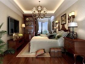 美式美式風格臥室躍層吊頂電視背景墻圖片