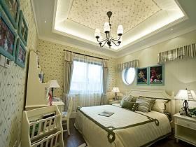 欧式卧室吊顶窗帘背景墙案例展示