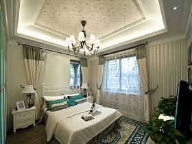 歐式臥室吊頂窗簾背景墻裝修案例