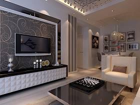 现代现代风格客厅背景墙电视背景墙装修案例