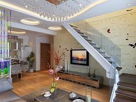 现代客厅楼梯电视背景墙装修案例