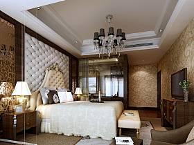 新古典臥室吊頂電視柜臺燈設計圖