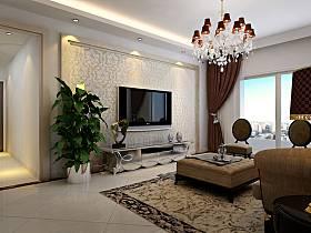 欧式客厅吊顶电视柜电视背景墙装修案例