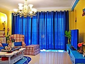 地中海客廳窗簾設計方案