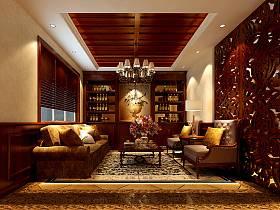 欧式客厅隔断沙发酒柜茶几效果图