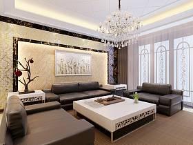 中式中式風格新中式客廳背景墻沙發客廳沙發裝修案例