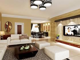 中式客厅背景墙沙发灯具设计案例展示