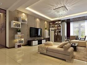 現代簡約客廳收納裝修效果展示