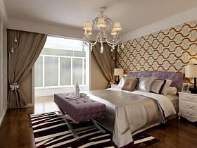 现代卧室吊顶窗帘装修图