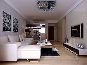 现代现代风格客厅吊顶电视背景墙装修效果展示
