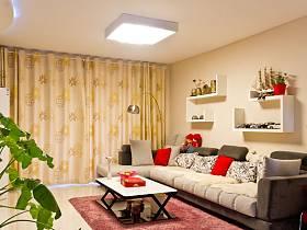 现代现代风格客厅吊顶窗帘效果图
