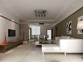 现代现代风格客厅吊顶电视背景墙装修图