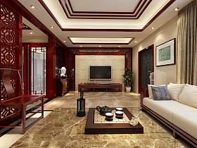 中式客厅沙发电视柜茶几电视背景墙装修案例