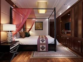 中式卧室电视柜电视背景墙设计案例展示