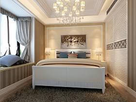 歐式臥室吊頂窗簾衣柜設計案例展示