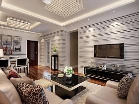 現代客廳三室兩廳兩衛電視背景墻裝修圖