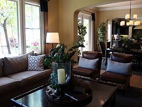 美式客廳復式樓單身公寓三室兩廳兩衛吊頂窗簾裝修效果展示