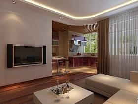 现代简约客厅跃层吊顶窗帘电视背景墙效果图