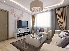 現代簡約客廳吊頂窗簾電視柜電視背景墻圖片