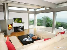 现代现代风格客厅别墅电视背景墙效果图