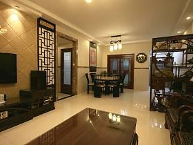 中式客厅隔断背景墙装修图