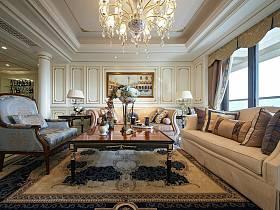 欧式客厅吊顶窗帘沙发图片