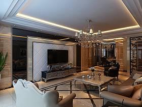 歐式客廳電視柜電視背景墻客廳吊燈裝修效果展示