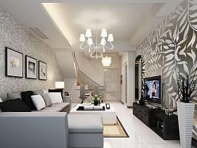 简约客厅复式楼沙发电视柜电视背景墙客厅吊灯设计案例展示