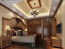 欧式卧室吊顶电视柜电视背景墙整体衣柜案例展示