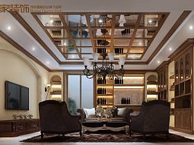 欧式客厅吊顶酒柜电视背景墙设计图