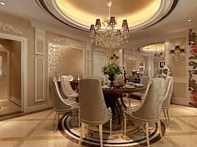 欧式豪华餐厅吊顶设计案例