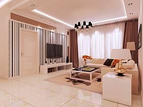 现代简约客厅电视柜电视背景墙装修效果展示