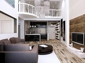 簡約客廳復式樓吊頂電視柜電視背景墻圖片