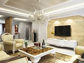 欧式客厅沙发电视柜茶几设计图