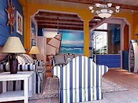地中海客厅别墅沙发茶几案例展示