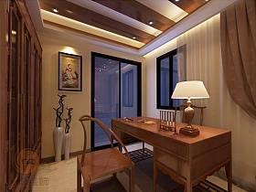 中式書房交換空間窗簾設計案例展示