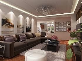 现代客厅沙发客厅吊灯装修案例