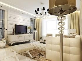 簡歐客廳吊頂電視柜電視背景墻設計方案
