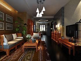 东南亚东南亚风格客厅吊顶电视背景墙装修案例