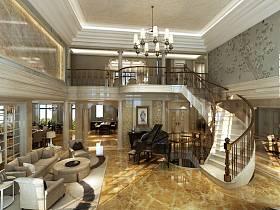 欧式客厅吊顶楼梯设计图