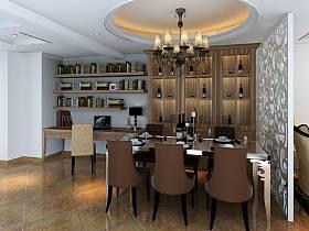 欧式餐厅单身公寓吊顶酒柜图片