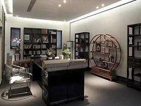中式中式风格书房交换空间装修效果展示