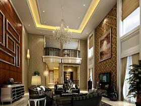 新古典客厅别墅复式楼单身公寓吊顶窗帘电视背景墙装修效果展示