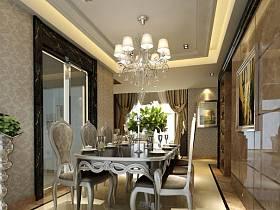 新古典餐厅别墅双拼别墅单身公寓吊顶窗帘设计案例展示