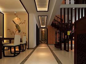 中式餐厅玄关楼梯玄关柜设计图