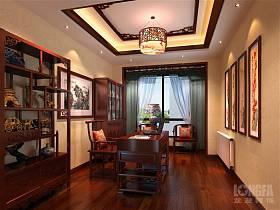 中式中式风格书房别墅交换空间吊顶装修案例
