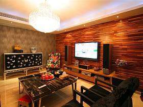 現代客廳三室兩廳兩衛電視背景墻效果圖